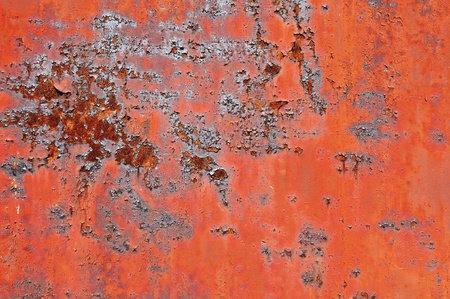 Rusty metal surface with old peeled paint for use as a texture or background photo