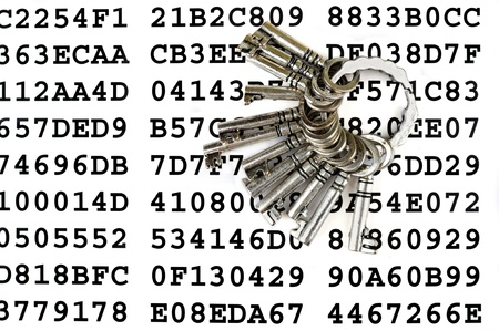 restricted: Bunch of silver keys on a sheet with encrypted data Stock Photo