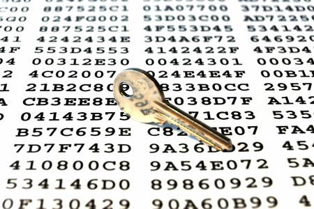 Key on a sheet with encrypted data