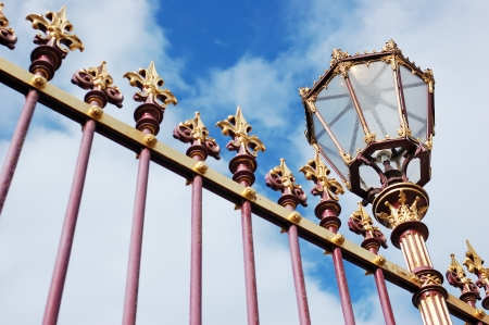 forged: Decorative grille fence with lantern, Hofburg palace, Vienna Stock Photo