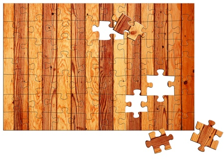 assembling: Wooden fence with missing puzzle elements  Construction assembling concept