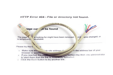 disruption: Cut network cable against an Internet error message