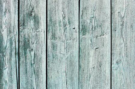 라이트 블루 - 녹색 풍 화 나무 울타리 질감을 그렸습니다