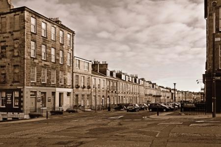 edinburgh: Panoramic view of Albany Street  Dublin Street corner , Edinburgh  Sepia toned image