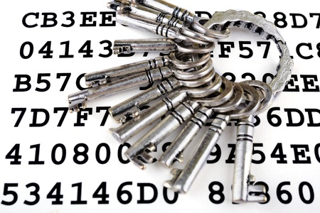 Bunch of silver keys on a sheet with encrypted data Stock Photo - 14659694