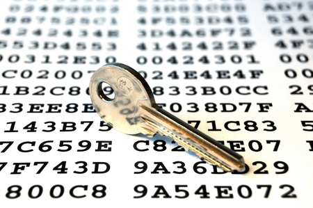 Key on a sheet with encrypted data photo