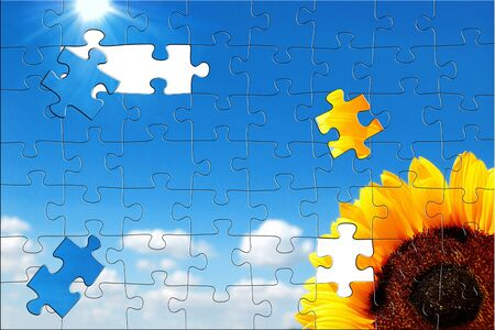 Sunflower on a background of the cloudy blue sky with sun. Puzzle picture. Stock Photo - 14665114