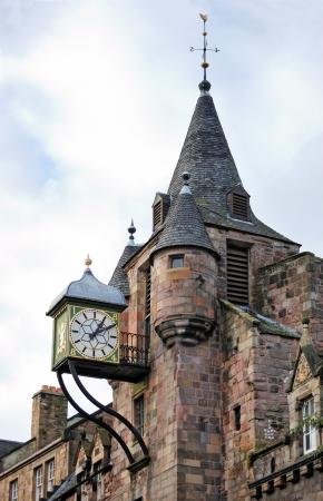 Canongate Tolbooth의 시계, Royal Mile, 에딘버러, 스코틀랜드, 영국