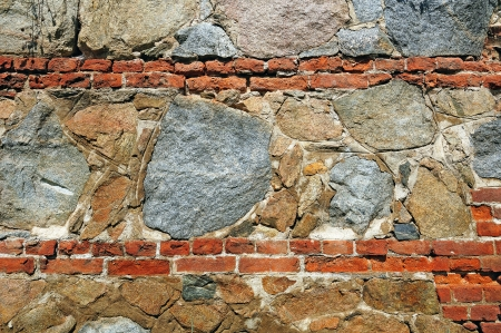 unequal: Fragment of wall made of rough unequal stones Stock Photo