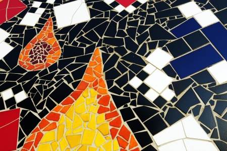 mosaic floor: Section of multicolored mosaic tiles
