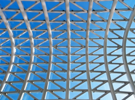 roof light: Roof made of glass and metal against blue sky background