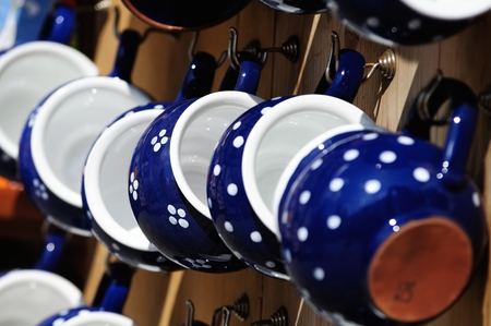 hand crafted: Hand-made ceramic cups on a street market