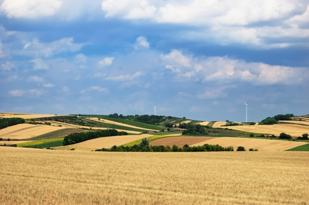 A scenic view of several farming fields under cloudy sky Stock Photo