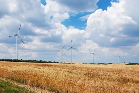 Wind turbines in wheat field under cloudy sky Stock Photo