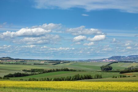 Picturesque view of hilly countryside area
