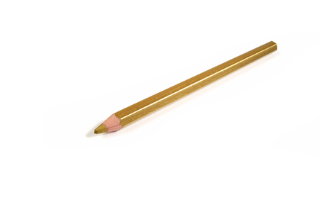 Golden pencil isolated on a white background