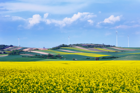 Wind turbines among rapeseed fields and colorful meadows against a dramatic cloudy sky