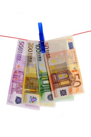 organized crime: Bank notes on a clothes line