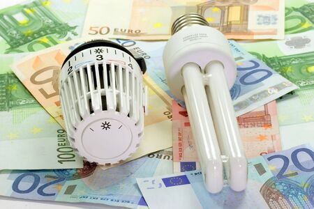 Thermostat with energy saving light bulb with banknotes in background