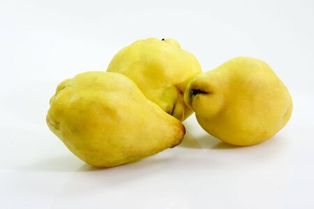 quinces: Three quinces on bright background