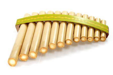 panpipe: Pan flute on bright background Stock Photo