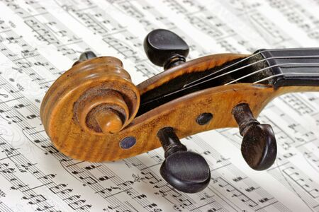 Detail from an old violine on a note sheet photo