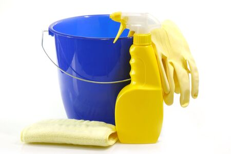 disinfecting: Bucket and cleaning accessoires on bright Background