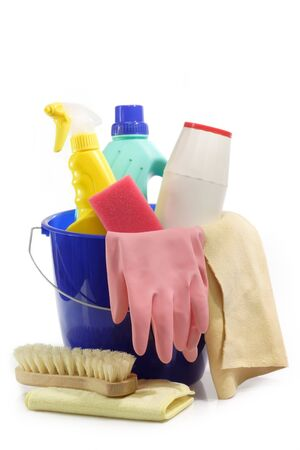 domestic task: Cleaning Equipment on bright Background Stock Photo