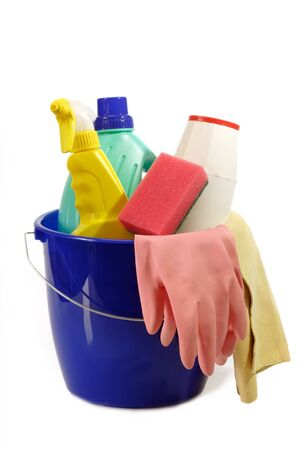 neatness: Cleaning Equipment on bright Background Stock Photo
