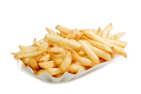 Crunchy French Fries on a paper plate with bright background