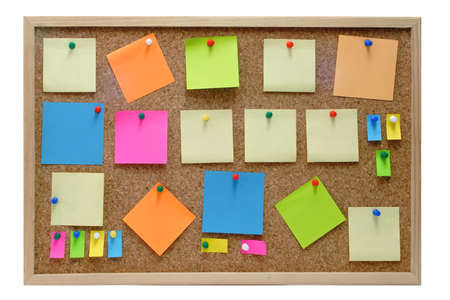 Colorful blank post it notes affixed to the corkboard. Stock Photo - 2548502