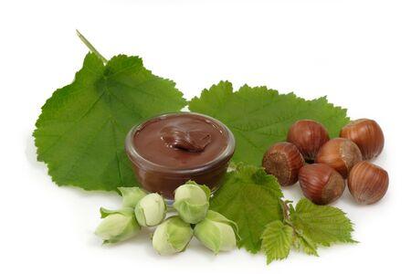 Chocolate creme with hazelnuts on bright Background