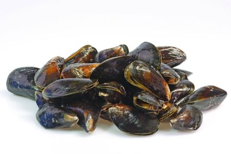 Closeup from raw mussels seafood as Background Stock Photo