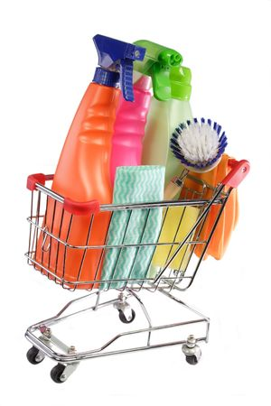 modell: Cleaning equipment in a modell shopping trolley on white background