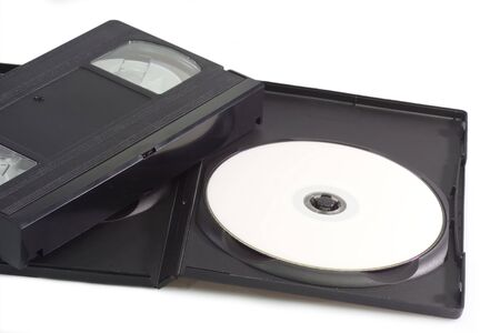 videocassette: Videocassette and digital versatile disc isolated on white background