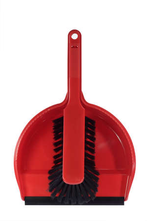 sweeper: Red dust pan with sweeper - isolated on white background Stock Photo