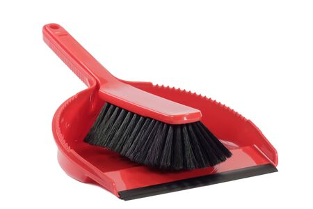 disinfect: Red dust pan and sweeper - isolated on white background Stock Photo