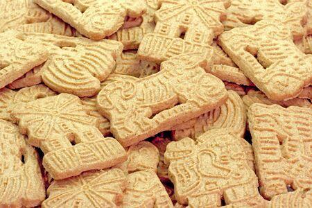 Close-up van specerijgewassen cookies als achtergrond Stockfoto