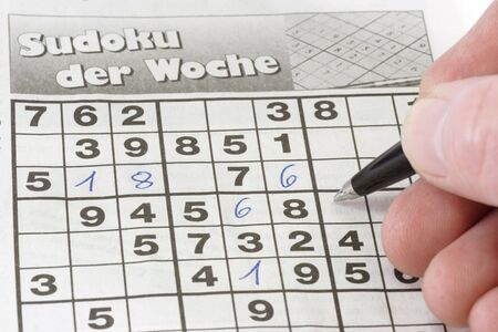 sudoku: Detail playing sudoku puzzle