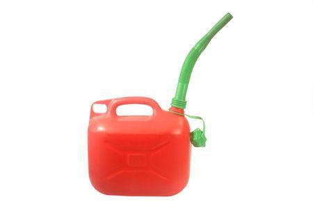 petrol can: Red de gasolina puede aislados en fondo blanco