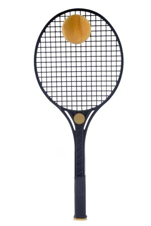 raquet: Tennis Racket and Ball isolated on white background Stock Photo