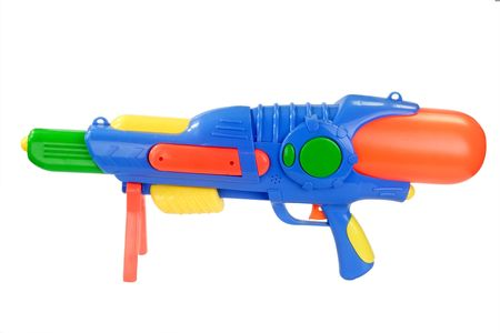 Colorful water gun isolated on a white background. Stock Photo