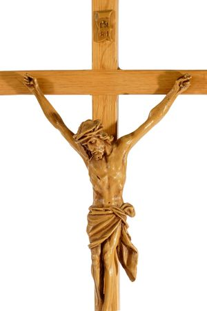 Een crucifix geïsoleerd op witte achtergrond