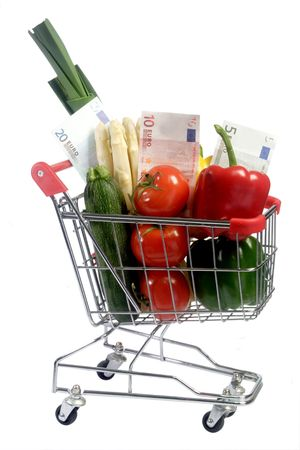 Vegetables and euronotes in a shopping trolley - isolated on white background