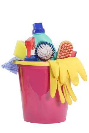 Cleaning Equipment on bright Background Stock Photo