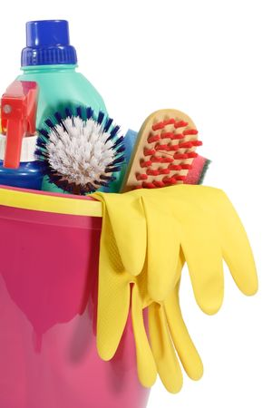 household objects equipment: Cleaning Equipment on bright Background Stock Photo