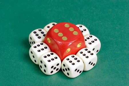 White and red dice on green background Stock Photo - 3161728