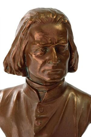 liszt: Figure from Franz Liszt, a great composer and pianist isolated on whiite background