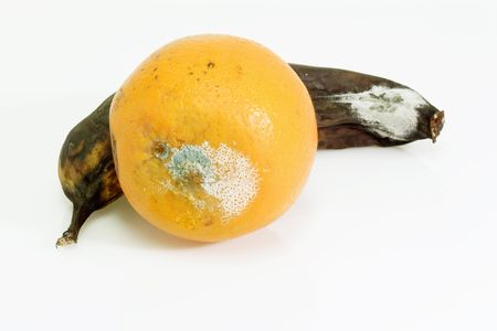 Mouldy fruits on bright background. photo