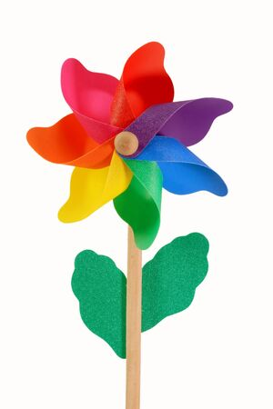 Plastik: Colored pinwheel isolated on white Stock Photo